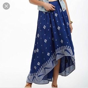 Floreat embroidered high low maxi skirt